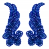 Motif Sequin/beads 15cmx6.5cm Wing Shape 2Pc Royal Hologram